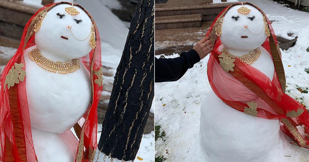 Three girls built this 'desi snow woman' and it broke
